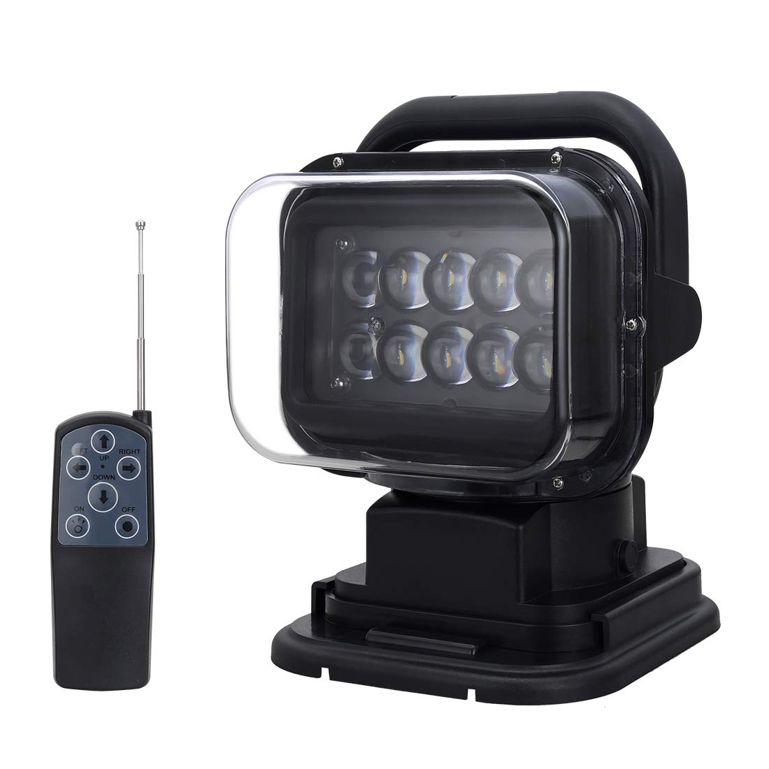 QUNSUN LED Spotlight 12V 50W LED Search Light 360 Degree LED Rotating Remote Control Work Light with Magnetic Base for SUV Boat Home Security Protection Emergency Lighting Farm Field Garden