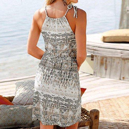 Estivo eleganti Beachwear Canotta Vestito Donna Mini Abito Senza Spalla sexy Estive Donne Boho A Bianco Maniche Stampare Collo Gonna Casuale Ningsun Moda O xfH7nq6