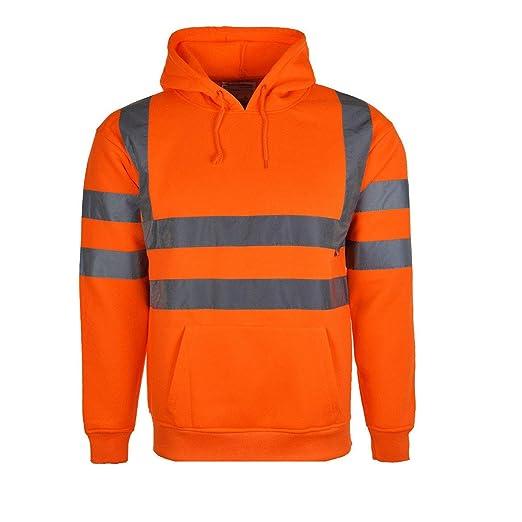 Mens Hi Vis Visibility Safety Work Hooded Sweatshirt Top Pullover Hoodie  Jumper