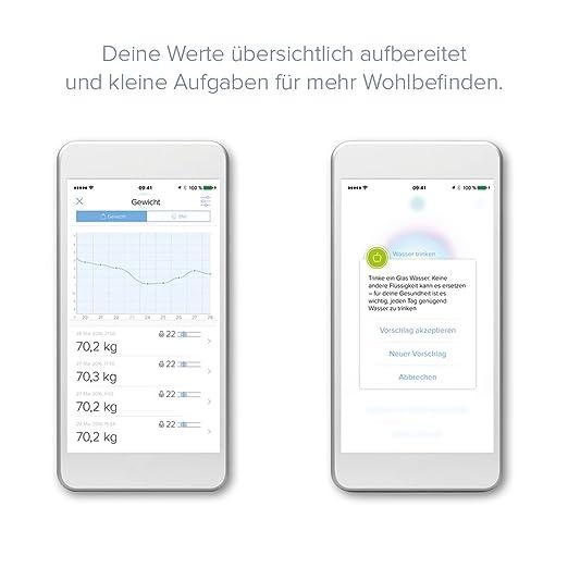 ADE Báscula de baño digital BE1616 FITvigo. Electrónica con excelente App. gratuita. Obtenga peso exacto de hasta 180 Kg indice de masa IMC. Bluetooth.