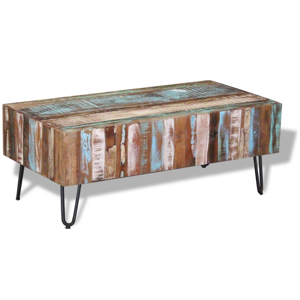 Festnight Retro-Stil Couchtisch Kaffeetisch aus Recyceltes Massivholz Beistelltisch Wohnzimmer Tisch mit Metallbeine 100x50x38cm