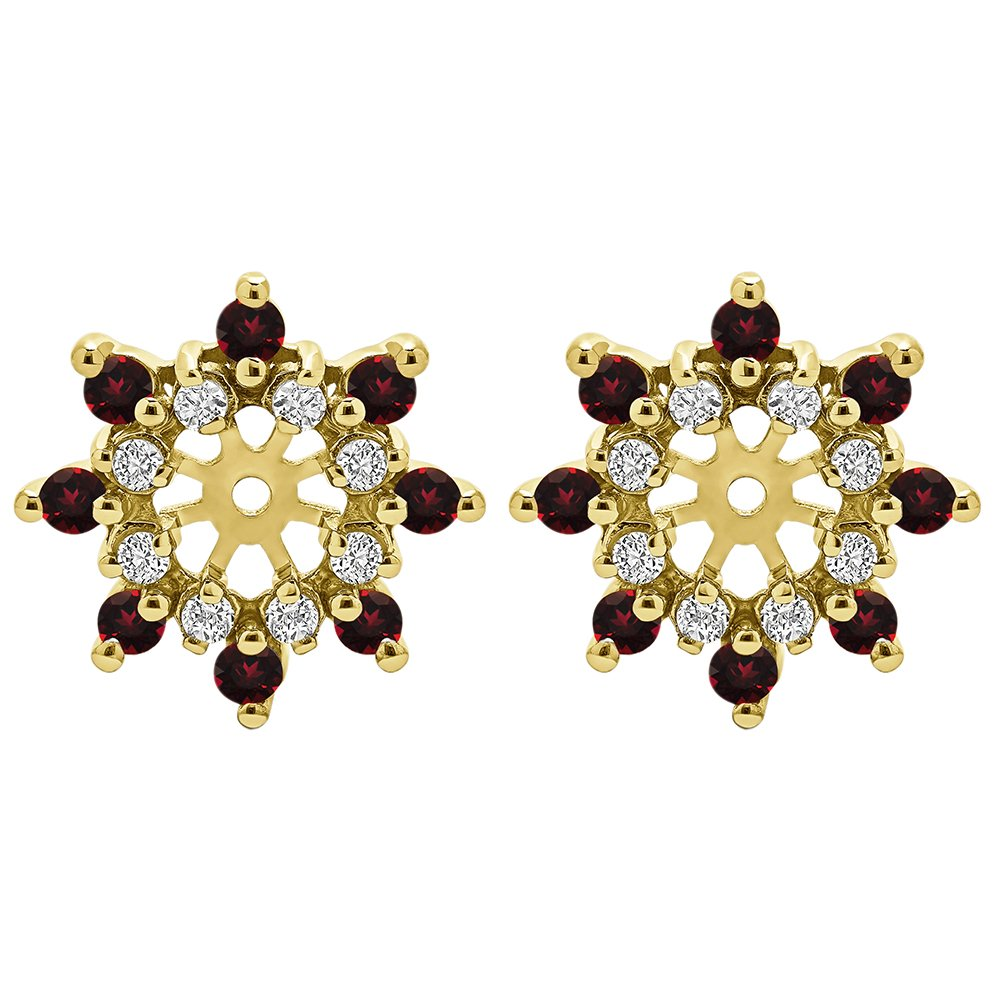1/2 ct. Diamonds (G-H,I2-I3) and Ruby Genuine Ruby and Diamond Cluster Style Earring Jacket in Yellow Plated Sterling Silver (0.48 ct. twt.)