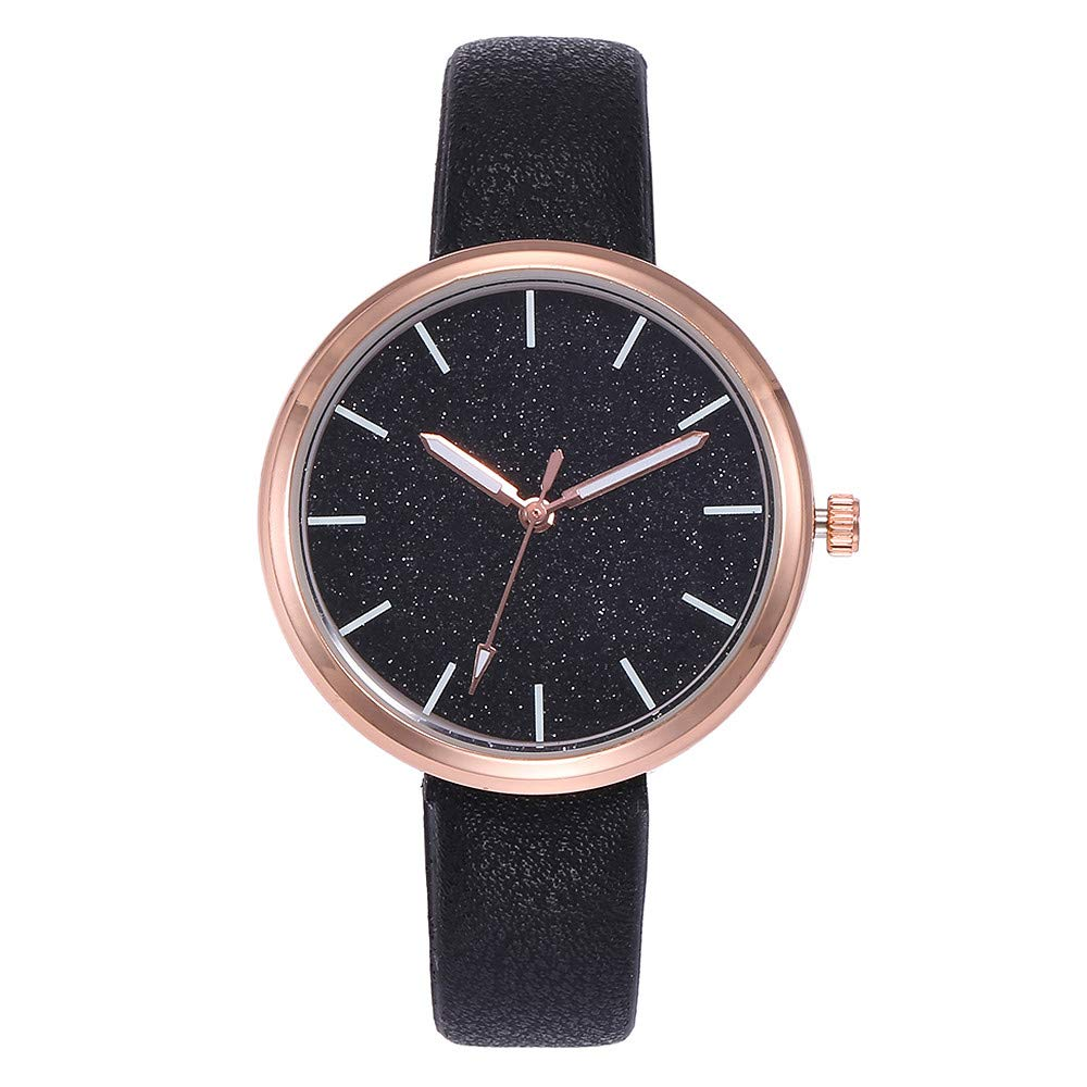 vmree Woman Fashion Shimmering Dial Leather Band Wrist Watch Rounded Quartz Dress Watch Ideal Gift (A)