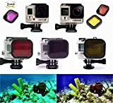3 Pack Gopro Dive Filter for Hero 3+ and Hero 4 (for underwater case size: 36x33.5 (mm)) - Red filter, yellow filter and magenta filter - Enhancing Colors for Various Underwater Video and Photography