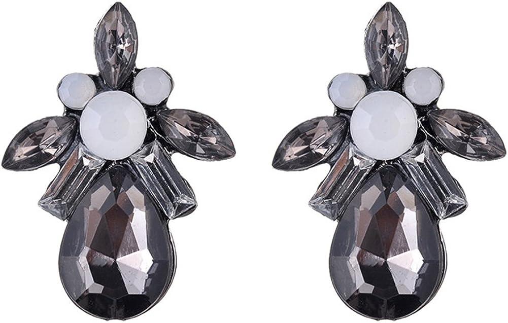 Leisial Mujers Bohemia Aleación Pendientes Retro Geométrica Gotas Pendientes de Cristal de Piedras Preciosas Regalos de Fiesta