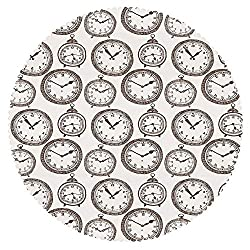 iPrint Round Tablecloth [ Clock Decor,Vintage Pocket Watch with Numbers on It Design Chronometers Decorations for Home,Brown ] Decorative Ideas