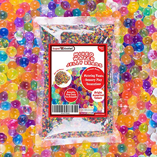 1 Pound Mixed Bag of Assorted Multi-Color Water Gel Pearls Beads for Home Decoration, Wedding Centerpiece, Vase Filler, Plants, Toys, Education (Makes 12 Gallons) by Super Z (Pearl Beads Bulk)