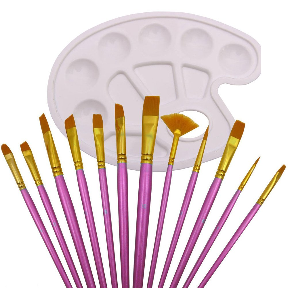 ELEOPTION 13PCS Paint Brush Set Nylon Art Brushes Secure Ferrules With Paint Tray Palette for Acrylic, Watercolor, Oil, Nail, Face Painting, Art Painting (Pink)