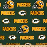 NFL Cotton Broadcloth Green Bay Packers White/Green/Yellow Fabric By The Yard