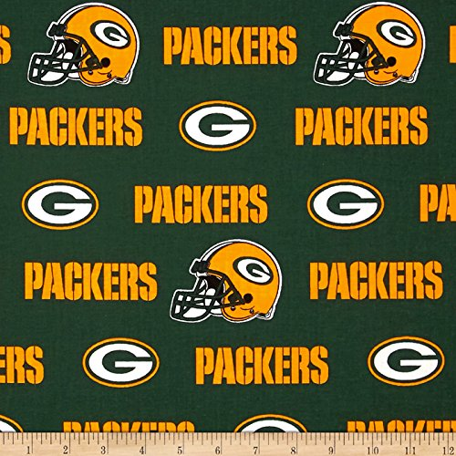 Fabric Traditions NFL Cotton Broadcloth Green Bay Packers White/Green/Yellow Fabric by The Yard, (Cotton Fleece Fabric)