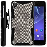 TurtleArmor | Sony Xperia Z2 Case | D6503 [Hyper Shock] Hard Reinforced Rugged Impact Hybrid Cover Belt Clip Holster Kickstand - Gray Checkered Pattern