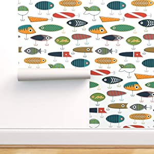 Spoonflower Peel and Stick Removable Wallpaper, Lures Nautical Boat Baby Boy Nursery Outdoor Hook Lake Modern Sport Fishing Fish Navy Blue Eye Print, Self-Adhesive Wallpaper 12in x 24in Test Swatch
