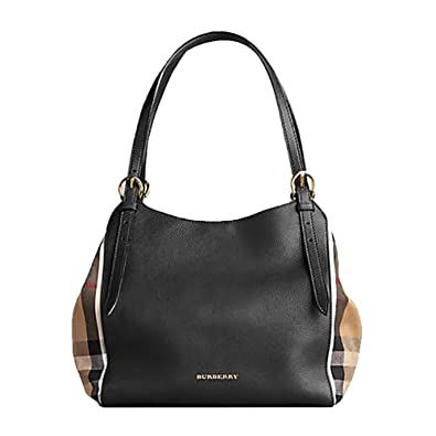 94f4477d4724 Amazon.com  Tote Bag Handbag Authentic Burberry Small Canter in Leather and  House Black Color Made in Italy  Shoes