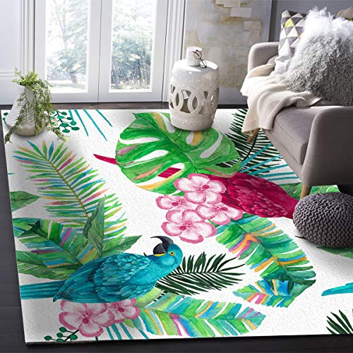 OUR WINGS Modern Area Rug,Tropical Rainforest Plant Palm Leaves Parrot Amazon Rainforest 4 Feet by 6 Feet Indoor Area Rugs Living Room Carpets for Home Decor Bedroom Nursery Rugs