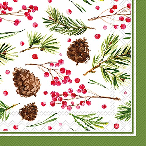 Pinecone Tableware - Boston International C017100 Roseanne Beck Cocktail Napkins, Pinecone