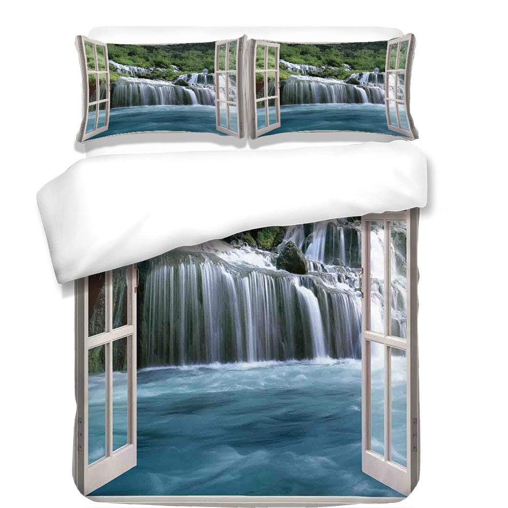 iPrint 3Pcs Duvet Cover Set,House Decor,Majestic Waterfall Landscape Through A Window Imaginary Secret Paradise at Home Decor,Blue Green,Best Bedding Gifts for Family/Friends