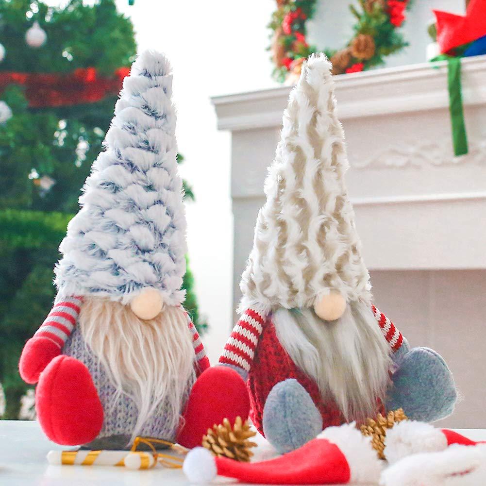 FuturePlusX Swedish Santa Gnome Plush, 2PCS Handmade Scandinavian Tomte Santa Scandinavian Gnome Plush for Christmas Santa Decoration Table Decor