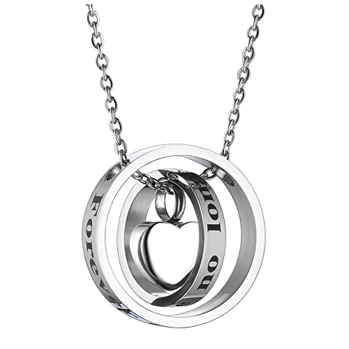 a8e1738ff3 Jovivi Personalized Custom Name Engraved Heart Locket Cremation Urn  Necklace Double Ring no Longer by My