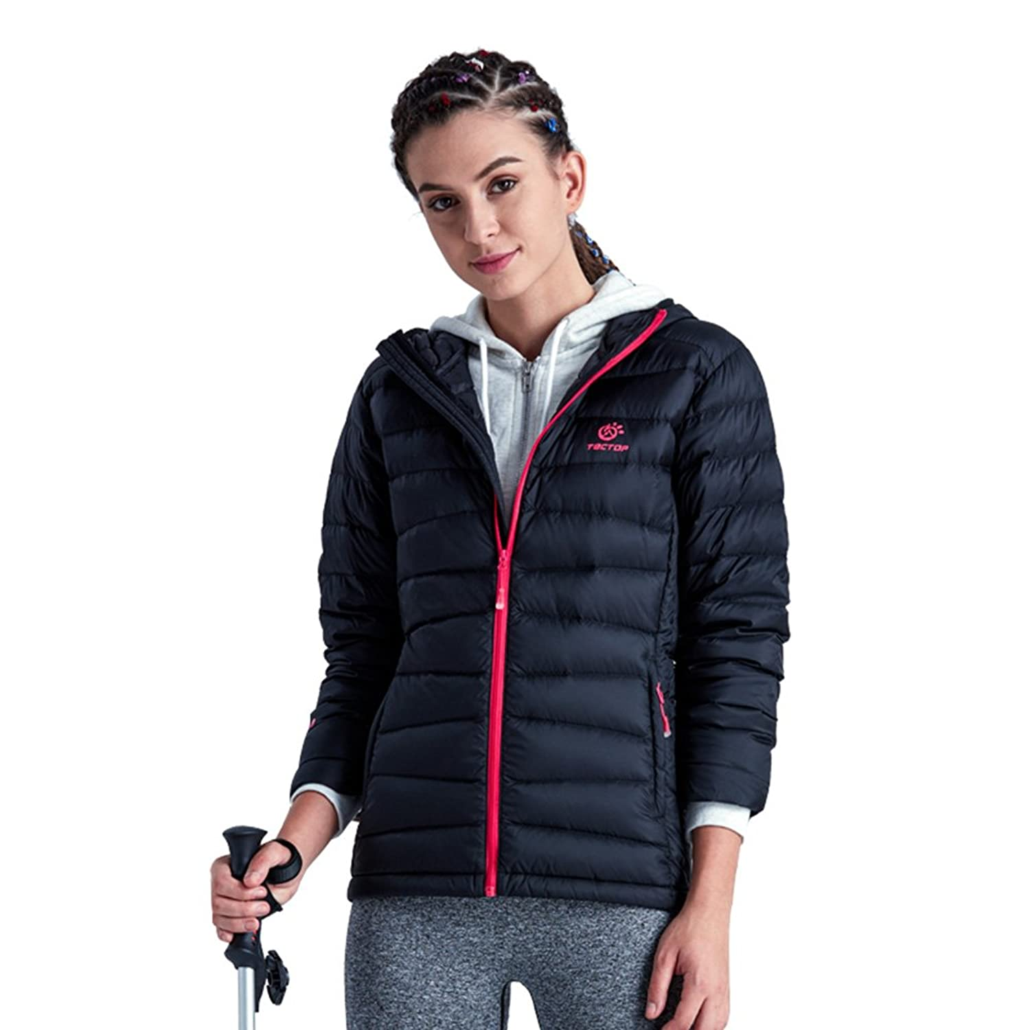 emansmoer Damen Winter Kapuze Ente Daunenjacke Ultraleicht Puffer Packable Mantel Winddicht Wasserdicht Outdoor Jacke