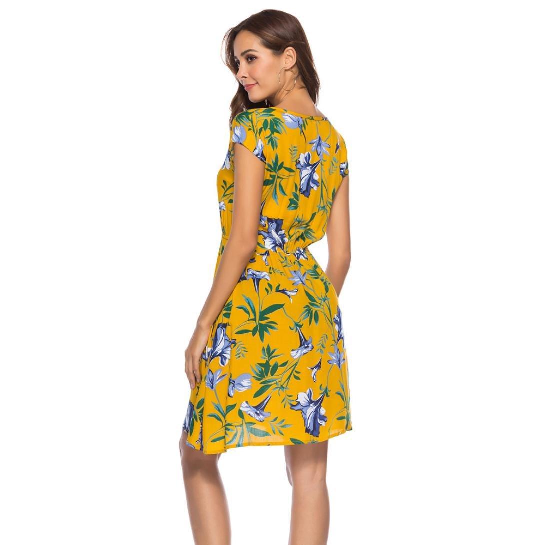 98a6683f60c503 Amphia Damen Kleid Onlamber Fold up Kleid,Damen Casual Langes Blumen Kleid  Lose Tunika Kurzarm T-Shirt Kleid: Amazon.de: Bekleidung