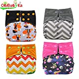 Baby Nappy Two Sides Pocket Bamboo Charcoal Cloth AIO Diapers 4 Pcs, Sewn in Insert Double Gussets Ohbabyka