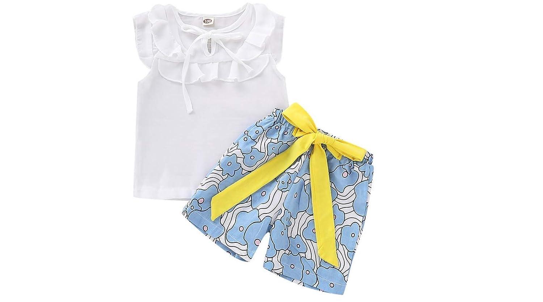 Lanhui Baby Girls Solid Sleeveless Bow Ruffles Tops Print Shorts Toddler Outfits Set