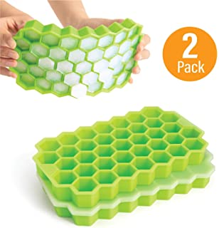 2pcs Silicone Ice Cube Trays Beverages. Cocktail Easy Release Honeycomb Shape Ice Molds Ice Cube Mold for Chilling Bourbon Whiskey 38 Cubes