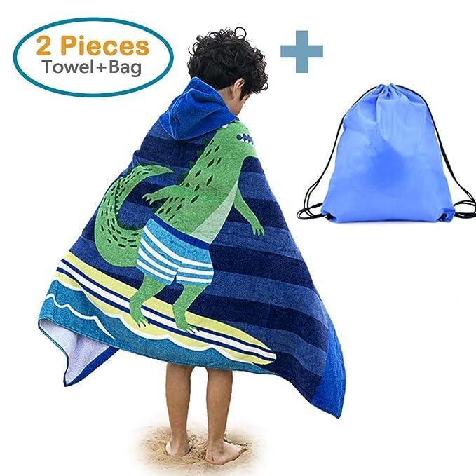 TOVTO Juego de Toallas de baño y Bolsa de Playa con Capucha para niños, 100% algodón, tamaño Grande/Poncho, Toalla de Playa, diseño de león para niñas y ...