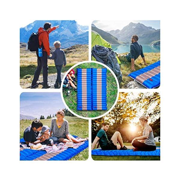 61o0yuk2N1L SGODDE Isomatte Camping Selbstaufblasbare,Handpresse Aufblasbare,leichte Rucksackmatte für Wanderungen zum Wandern auf…