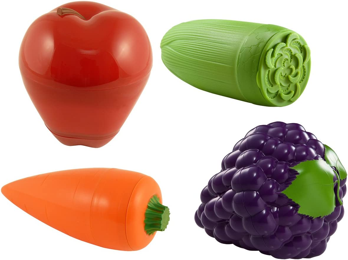 Hutzler Fruit & Veggie, Set of 4 snack containers, Regular, Red/Green/Orange/Purple