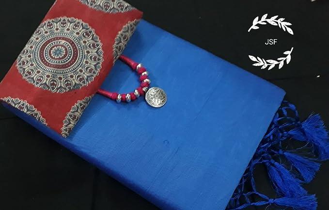 b7c6b7fcb9d1f1 Women s Chanderi Silk Cotton Kalamkari Saree with Kalamkari Blouse piece  and Trendy Oxidised Jewellery (Blue