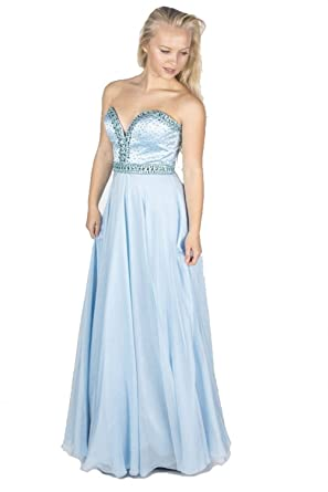 Sherri Hill 32071 long sweetheart strapless dress (US 4, Light Blue)