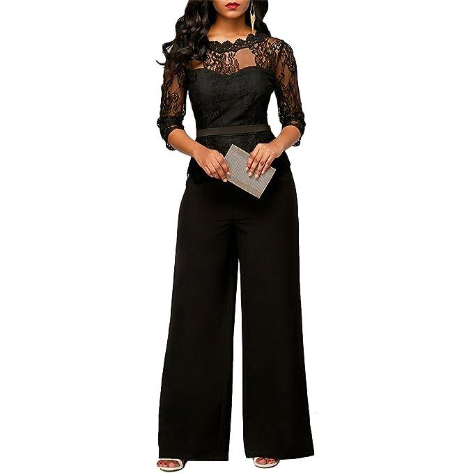c43b142af74 GINVELL Women s Elegant Lace Top Jumpsuits High Waist Wide Leg Long Romper  Pants (S