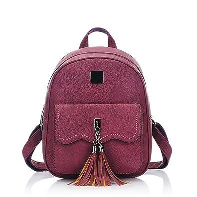 Yimoji Vintage Women Tassel Backpack PU Leather Teenage Girls ...
