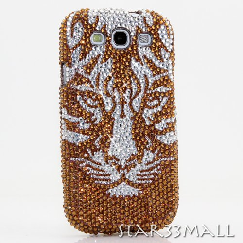Samsung Galaxy S4 i9500 Luxury 3D Bling Case - Elegant Sparkle Golden Brown Tiger Leopard Amber Pop Art Design - Swarovski Crystal Diamond Sparkle Girly Protective Cover Faceplate (100% Handcrafted By Star33mall) Amber Leopard