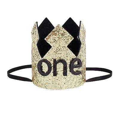 Gorro de Primer cumpleaños con Purpurina, diseño de Corona ...