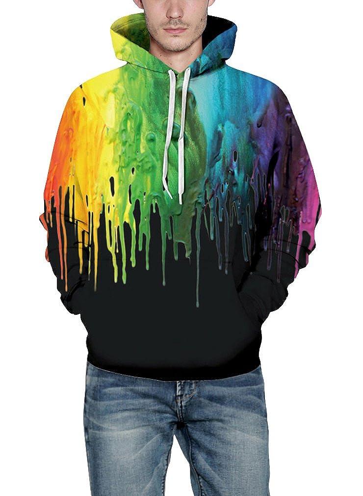 Leslady Unisex Herren Slim Fit 3D Druck Kapuzenpullover Kapuzen Sweatshirt Winter Hoodie Pullover