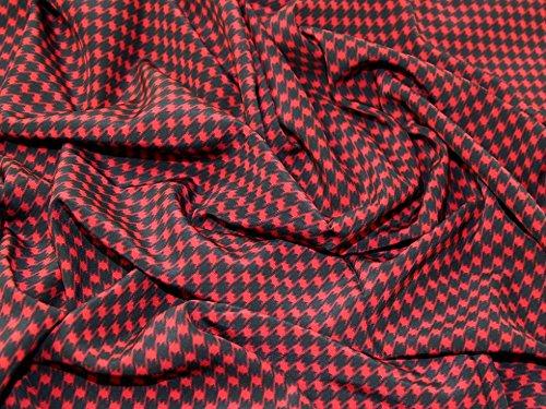 (Italian Houndstooth Print 100% Silk Crepe Dress Fabric Red & Black - per)