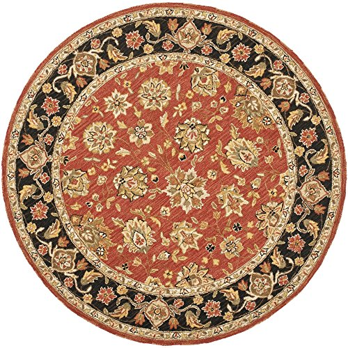 Safavieh Chelsea Collection HK505C Hand-Hooked Rose and Black Premium Wool Round Area Rug (5'6