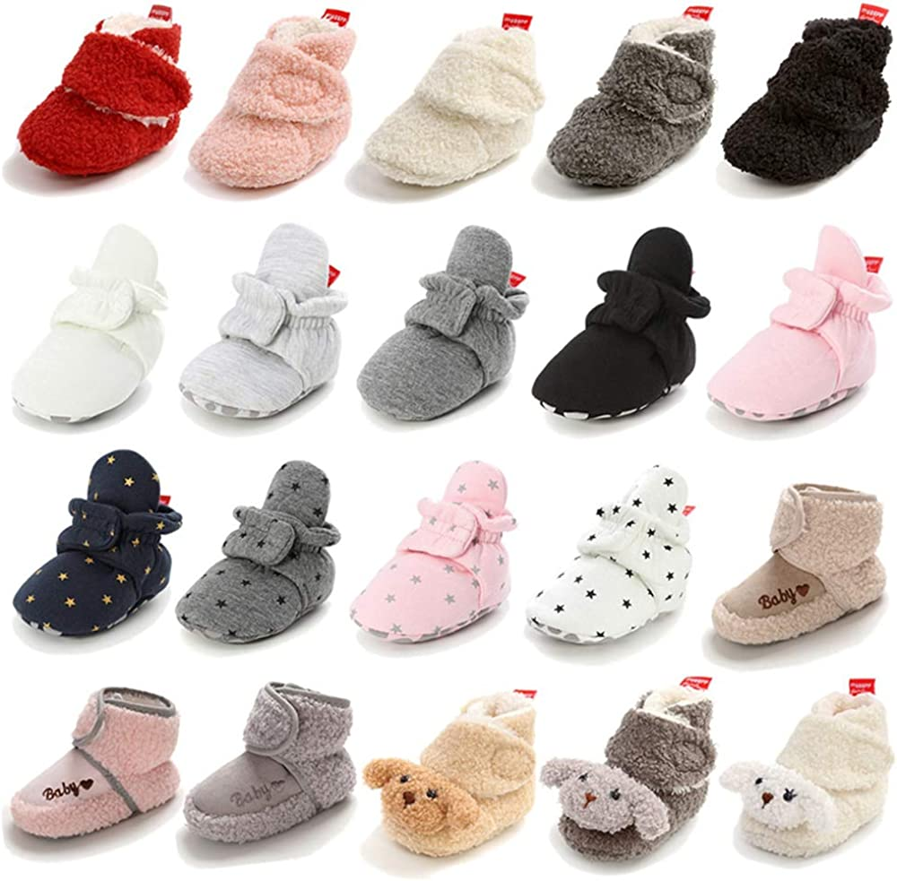 Newborn Baby Boys Girls Cozy Fleece Bootie Infant Stay On Slipper Sock Soft Sole Gripper Non-Skid Crib Shoes First Gift