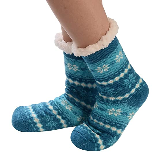 Calcetines Mujer Divertidos Invierno Antideslizantes Calcetines AlgodóN Navidad Imprimir Gruesas Piso Calcetines Alfombra (Azul)