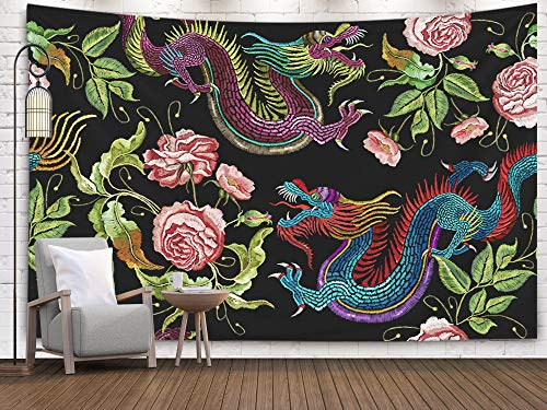 - Asdecmoly Tapestry Printing Wall Hanging Tapestries for Living Room and Bedroom 60 L x50 W Inches Embroidery Chinese Dragons Flowers Peonies Pattern Classical Embroidery Asian Art Printing Inhouse