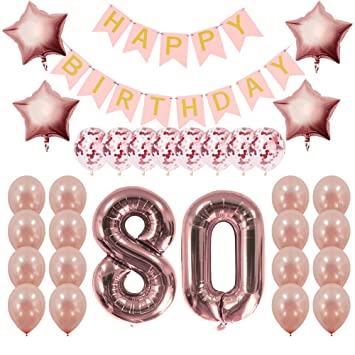 Rose Gold 80th Birthday Decorations Party Supplies Gifts For Women