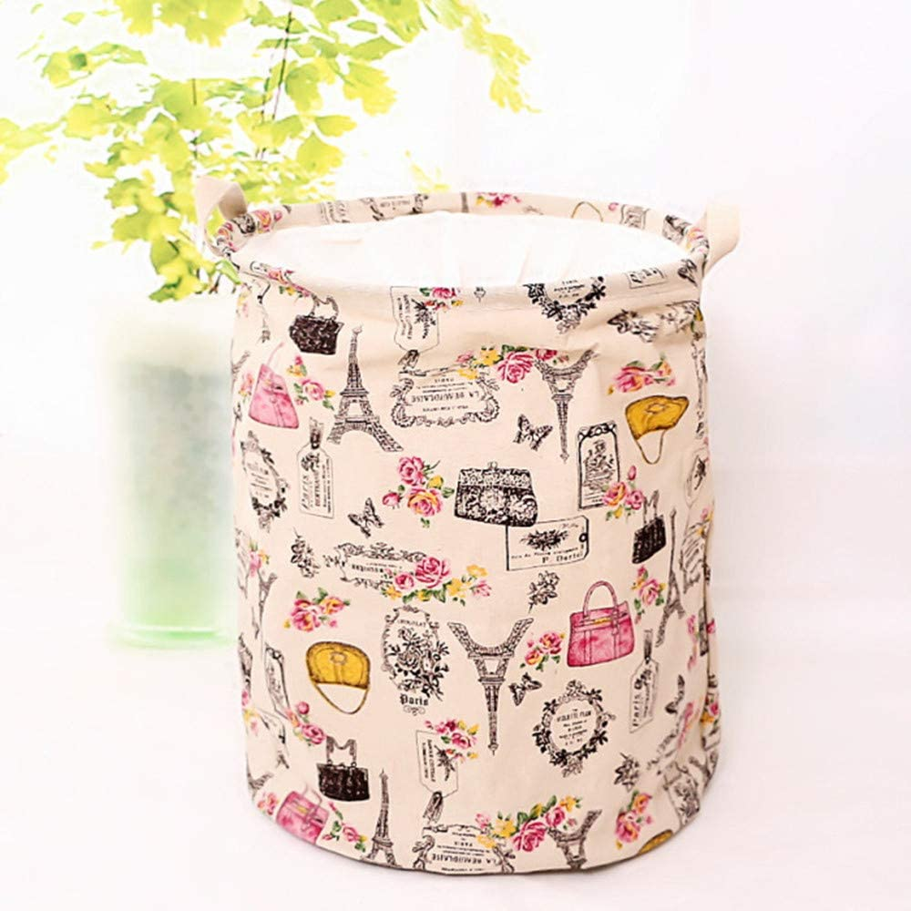 Hibedding Large Laundry Basket Paris Theme for Girls Room Convenient Laundry Hamper for Kids Bedroom, Baby Nursery, Pink