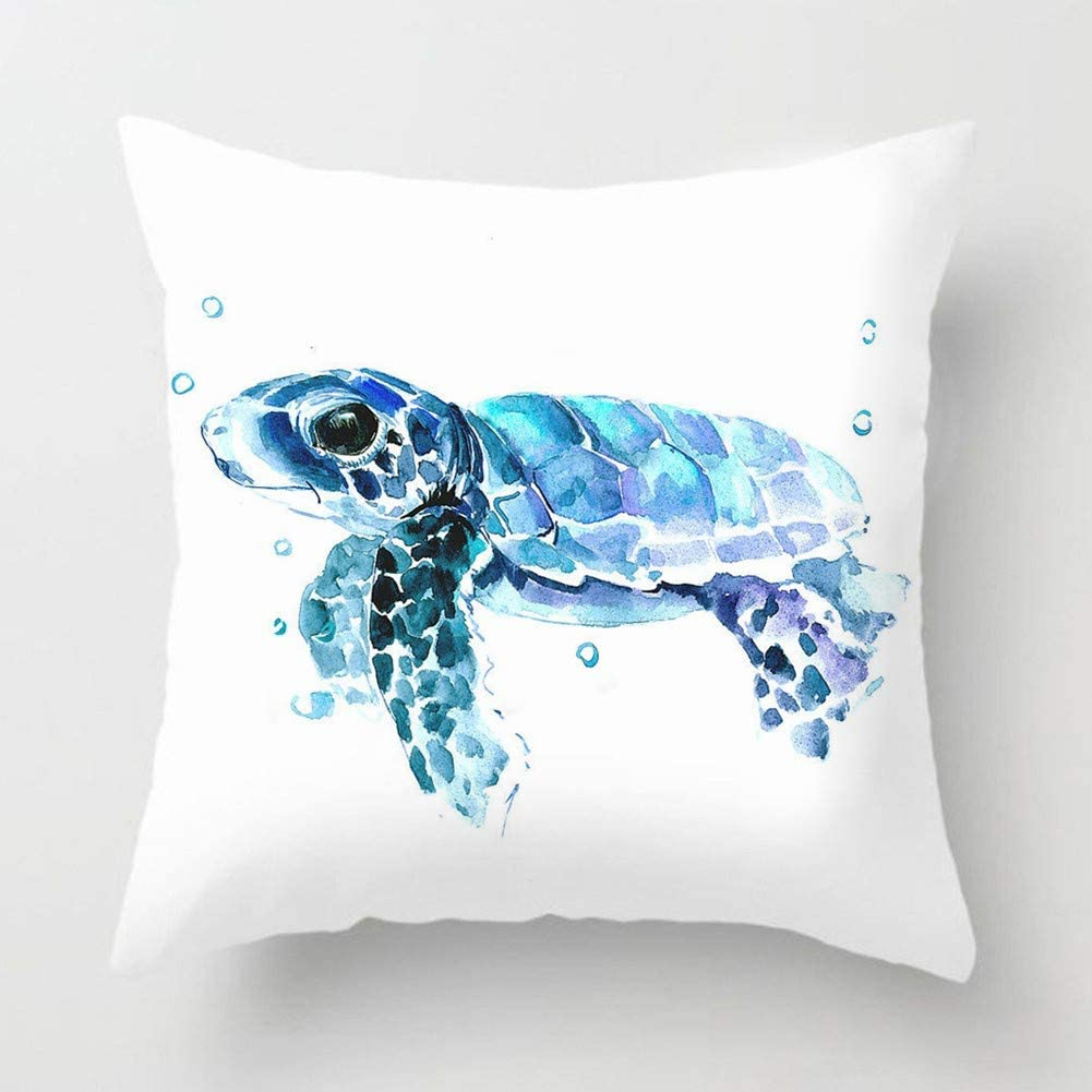 "Sea Turtle Throw Pillow Cover Summer Ocean Beach Theme Decor Cushion Case Super Soft Marine Animals Decorative Pillow Covers for Home Sofa Couch 18"" x 18"" (Turtle-2)"