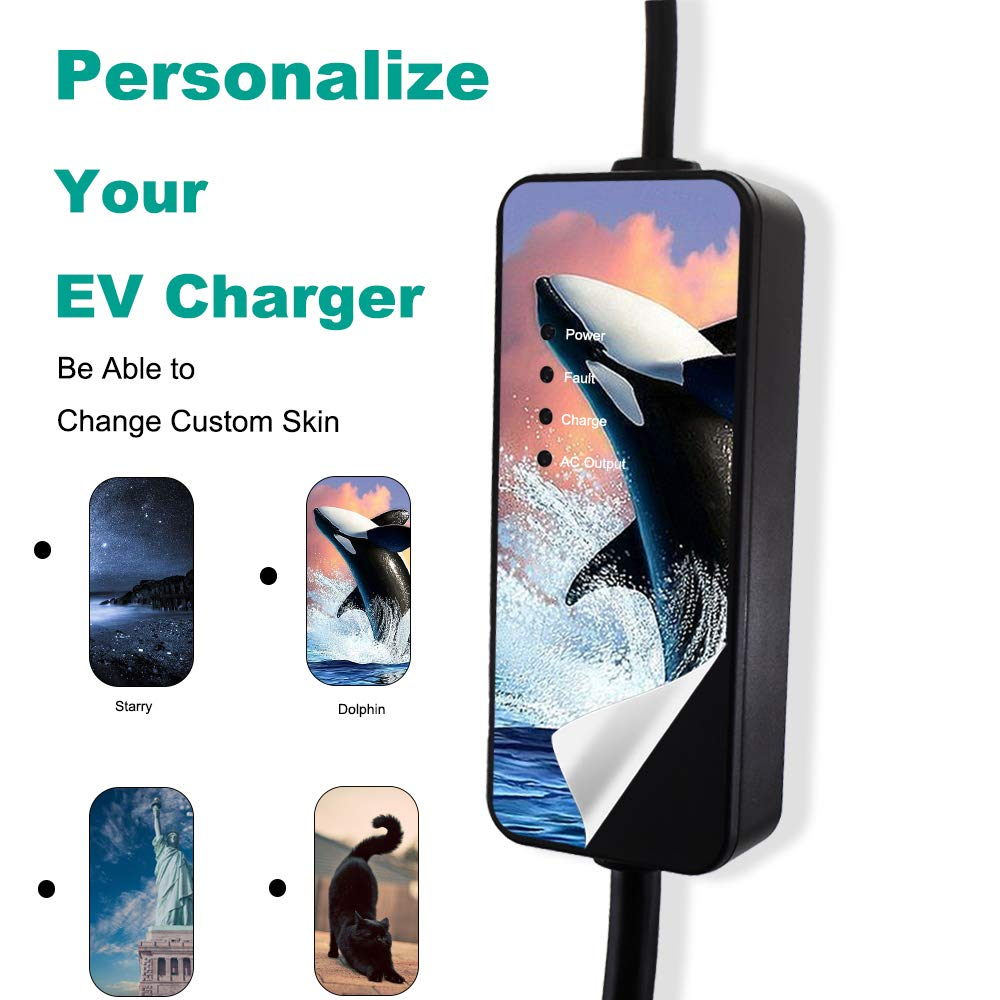 MAX GREEN Outdoor-Use EV Charger with Custom Skin, Level 2 Electric Vehicle Charging Station Included Five Adapters Compatible Level 1 by MAX GREEN (Image #3)