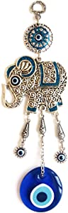 Erbulus Elephant and Glass Turkish Evil Eye Home Protection Charm - Blue Elephant Hanging Ornaments Wall Decor