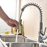 VAPSINT Good Build Quality Chrome Monobloc Kitchen Sink Mixer Tap,Swivel & Spring Spout Pull Out Bar Taps