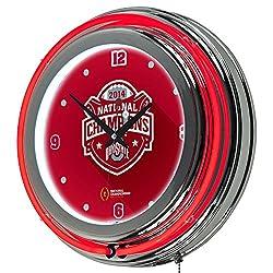 Trademark Gameroom Ohio State University National Champions Chrome Neon Clock