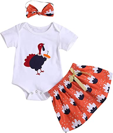 Thanksgiving Newborn Baby Girls Clothes Turkeys Printed Long Sleeve Tassel Romper+Cute Headband Outfit Set